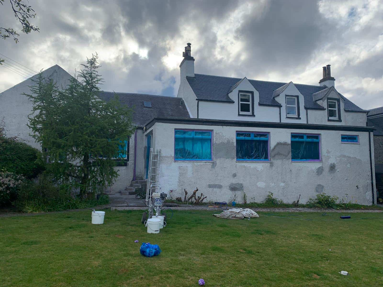 before exterior wall coating in Port Glasgow